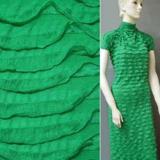 Трикотаж зелений з рюшами ш.150