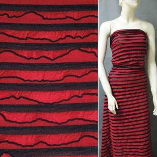 Трикотаж красный с черн. полоски и рюшами ш.150