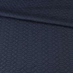 Трикотаж двойной синий темный, стеганые квадраты, ромбы, ш.155