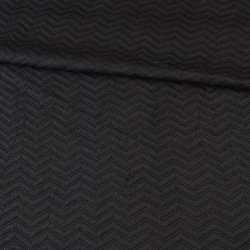 Трикотаж двойной черный, стеганая елочка, ш.150