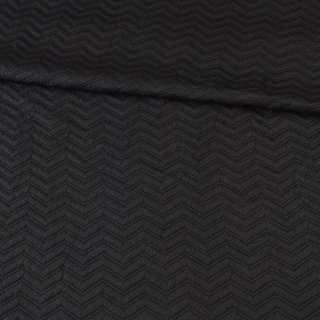 Трикотаж подвійний чорний, стьобана ялинка, ш.150