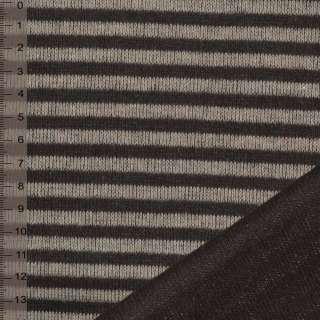 Трикотаж двостороннім коричнево бежевий в смужку ш.150