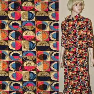 Трикотаж шерстяной в коричнево-малиновые квадраты с цветными овалами ш.170