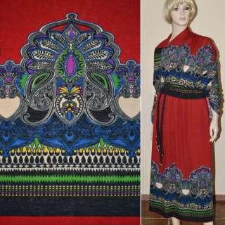 Трикотаж шерстяной красный с серо-синими огурцами раппорт ш.170