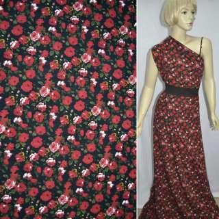 Трикотаж чорний в червоні троянди ш.160