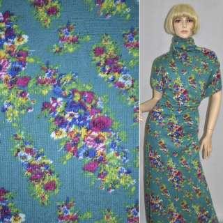 Трикотаж бірюзовий світлий з кольоровими квітами ш.165