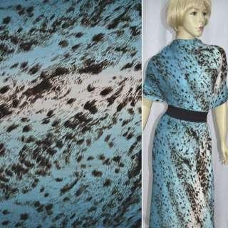 Трикотаж сине-голубой с коричневый принт леопард (раппорт) ш.160