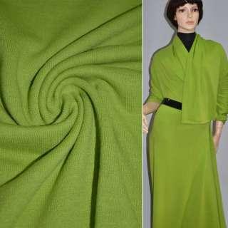 Трикотаж шерстяной зелено-желтый ш.180