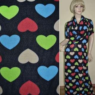 Трикотаж синий темный с цветными сердечками ш.167