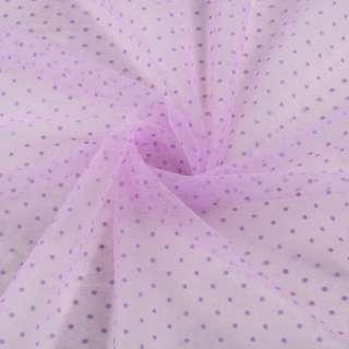 Фатин розово-сиреневый в горох (флок), ш.150