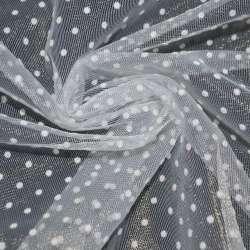 Фатін білий в білий горох ш.150
