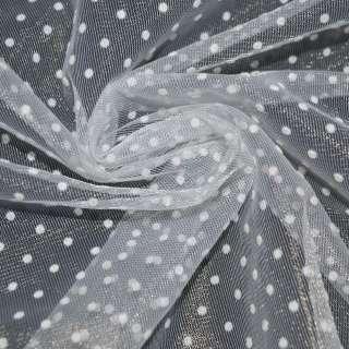 Фатин белый в белый горох ш.150