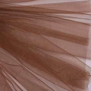 Фатин м'який матовий коричневий (дрібна клітинка), ш.160