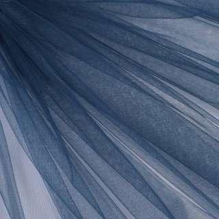 Фатин м'який матовий синій темний (дрібна клітинка), ш.160