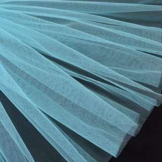 Фатин м'який матовий блакитний світлий (дрібна клітинка), ш.160