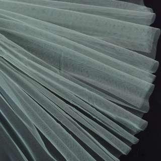 Фатин м'який матовий сіро-бірюзовий (дрібна клітинка), ш.160