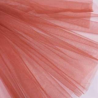 Фатин м'який матовий коричнево-рожевий (дрібна клітинка), ш.160