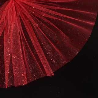 Фатин жесткий с блестками красный ш.160