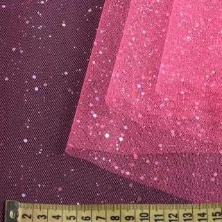 Фатин жорсткий з блискітками рожевий яскравий ш.160