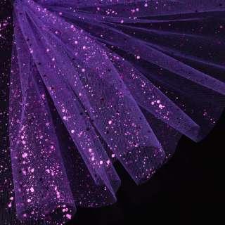 Фатин жесткий с блестками фиолетовый яркий ш.160
