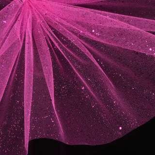 Фатин жорсткий з блискітками малиновий яскравий ш.160
