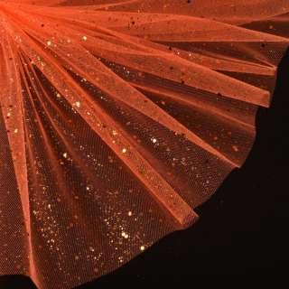 Фатин жесткий с блестками оранжевый ш.160