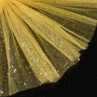 Фатин жесткий с блестками желтый темный ш.155