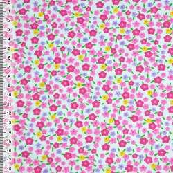 Фланель белая с мелкими разноцветными цветами ш.105