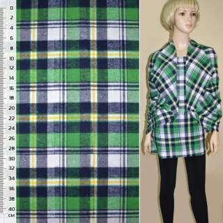 Фланель сорочкова зелено-біла + синьо-жовта клітина ш.146