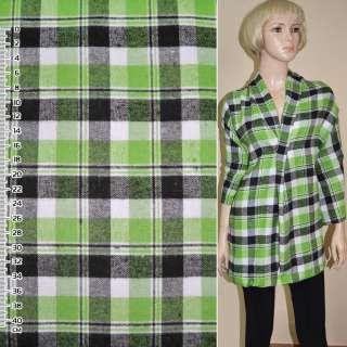 Фланель сорочкова в салатово-білу + чорну клітинку ш.148