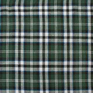 Фланель рубашечная зеленая в черно-бело-голубую клетку (9х11) ш.145
