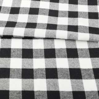 Фланель рубашечная в черно-белую клетку ш.137