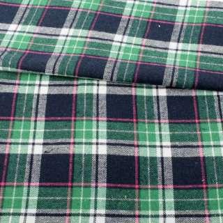 Фланель рубашечная синяя темная в зелено-бело-розовую клетку ш.144