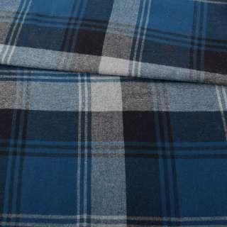 Фланель рубашечная синяя в крупную черно-серую клетку ш.145
