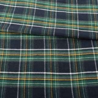 Фланель рубашечная синяя темная в зелено-желто-белую клетку ш.150
