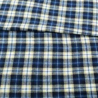 Фланель сорочкова синя в біло-жовту клітку ш.148