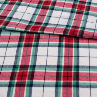 Фланель рубашечная белая в красно-сине-зеленую клетку ш.150