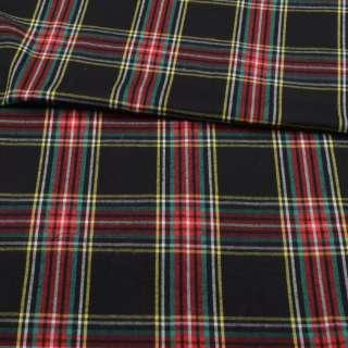 Фланель рубашечная черная в красно-желтую клетку ш.147