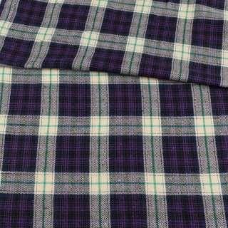 Фланель рубашечная фиолетовая в молочно-зеленую клетку, ш.145