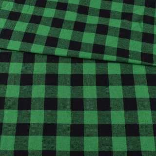 Фланель рубашечная зеленая в черную клетку, ш.150