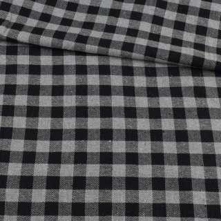 Фланель рубашечная в черно-серую клетку, ш.145