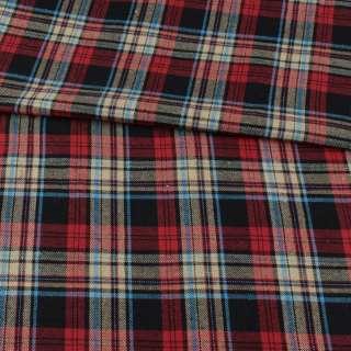 Фланель рубашечная черная в красно-бежевую, голубую клетку, ш.145