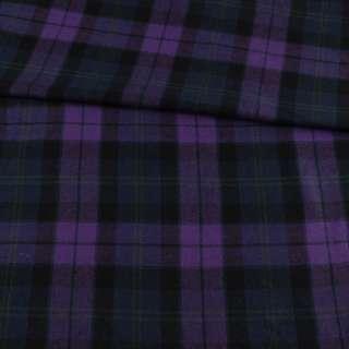 Фланель рубашечная фиолетовая в черно-синюю клетку, ш.145