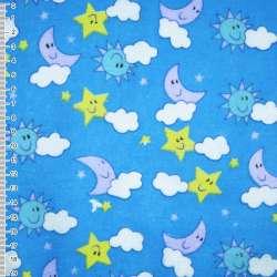 Фланель голубая - небо ш.110