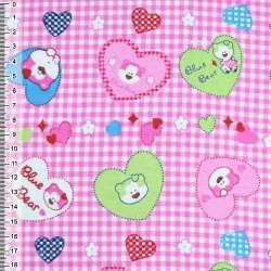 Фланель розовая сердечки с мишками ш.110