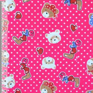 Фланель ярко-розовая с мишками LOVE ш.110
