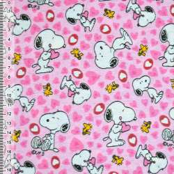 Фланель розовая собачка с сердечками ш.110