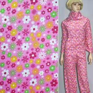 фланель ярко-розовая с разноцветн. цветами ш.110