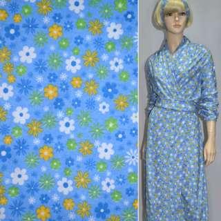 Фланель голубая с разноцветными цветами ш.110