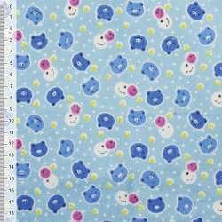 Фланель голубая с разноцветными мордочками ш.110